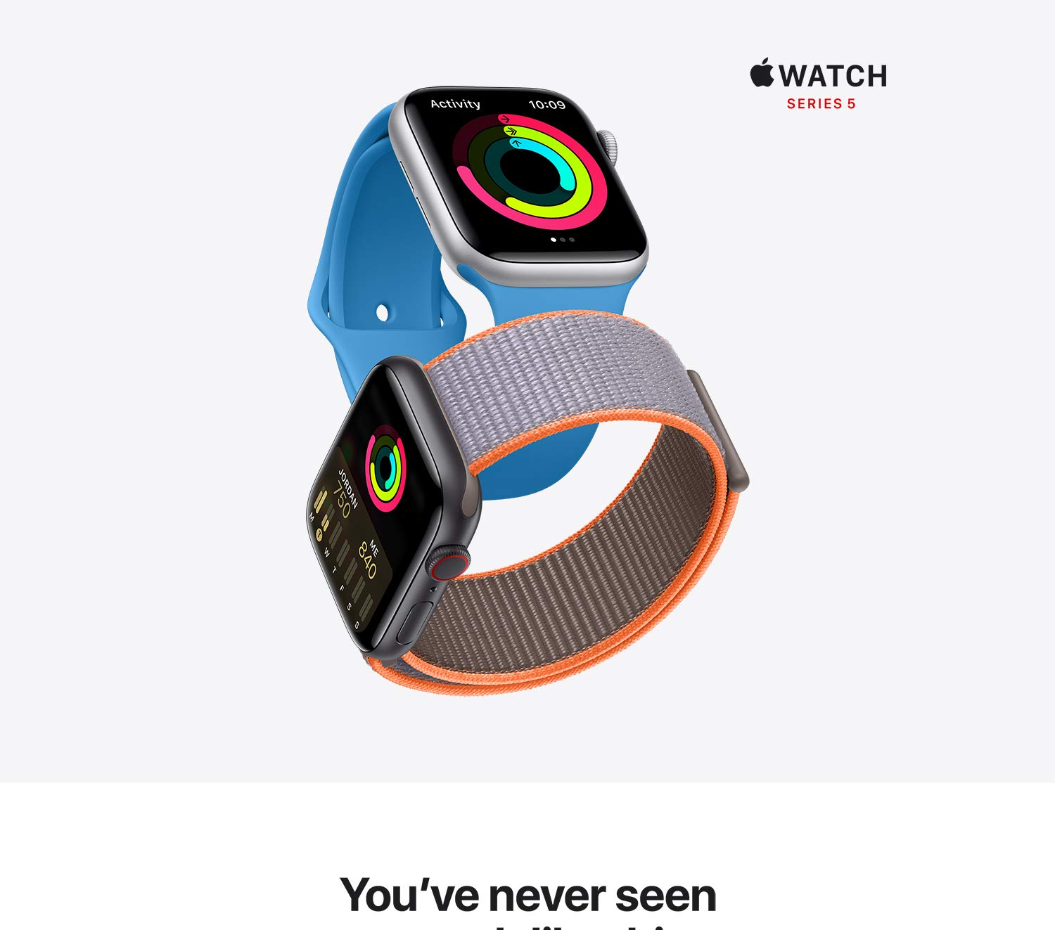 You've never seen a watch like this. This watch has a display that never sleeps. With the Always-On Retina display, you always see the time and your watch face.