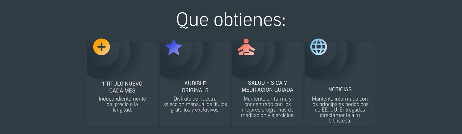 Que obtienes con Audible: 1 titulo nuevo cada mes, Audible Originals, Salud fisica y meditacion guiada, y noticas.