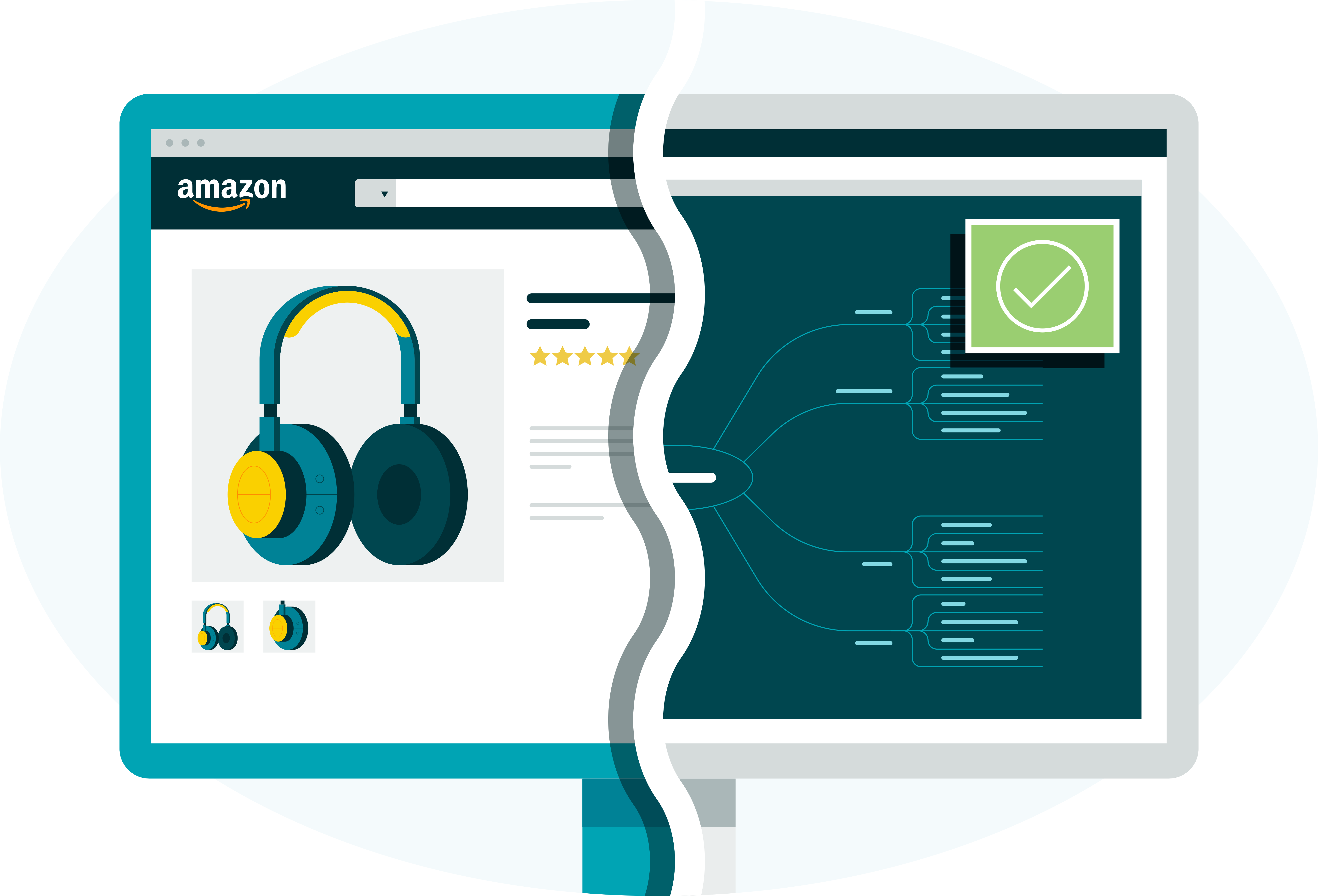 illustration of a computer representing an Amazon product page and brand protection technology