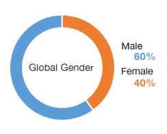 Chart: Global Gender Overall | Male 60%, Female 40%