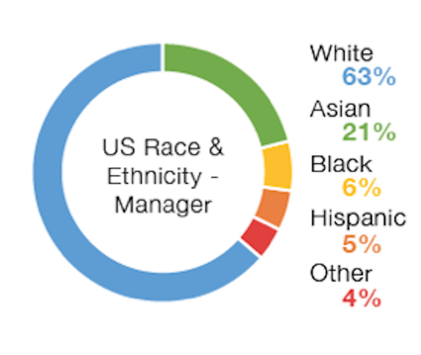 Chart: US Race and Ethnicity Managers | White 63%, Asian 21%, Hispanic 6%, Black 5%, Other 4%