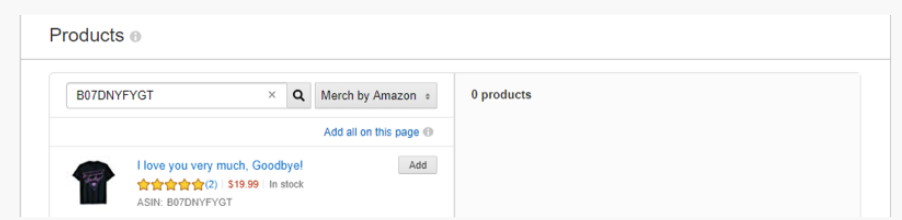 ASIN found example in Amazon advertising