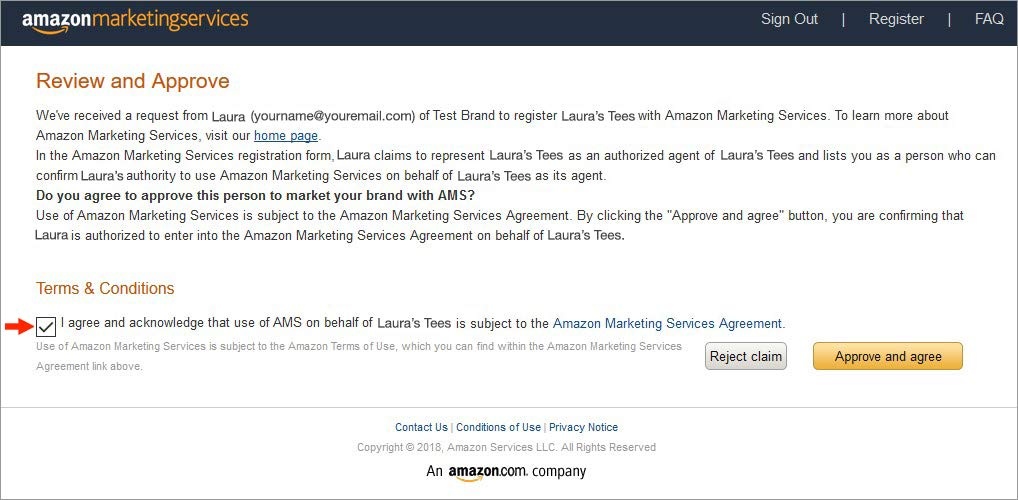 Amazon Advertising sign up thank you screen example
