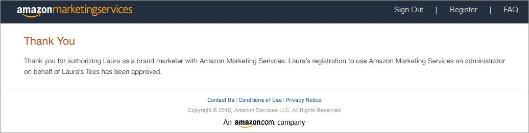 Amazon Advertising confirmation and thank you