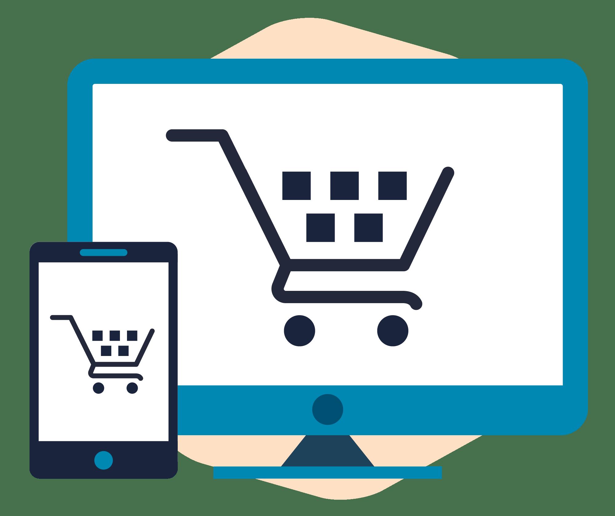 Tablet and desktop computer screen, both displaying a shopping cart.