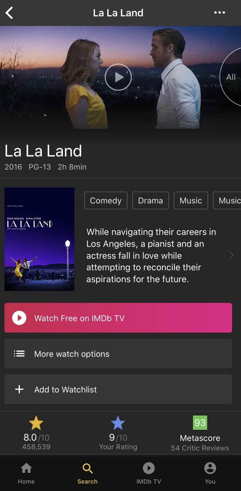 Example of IMDbTV on mobile