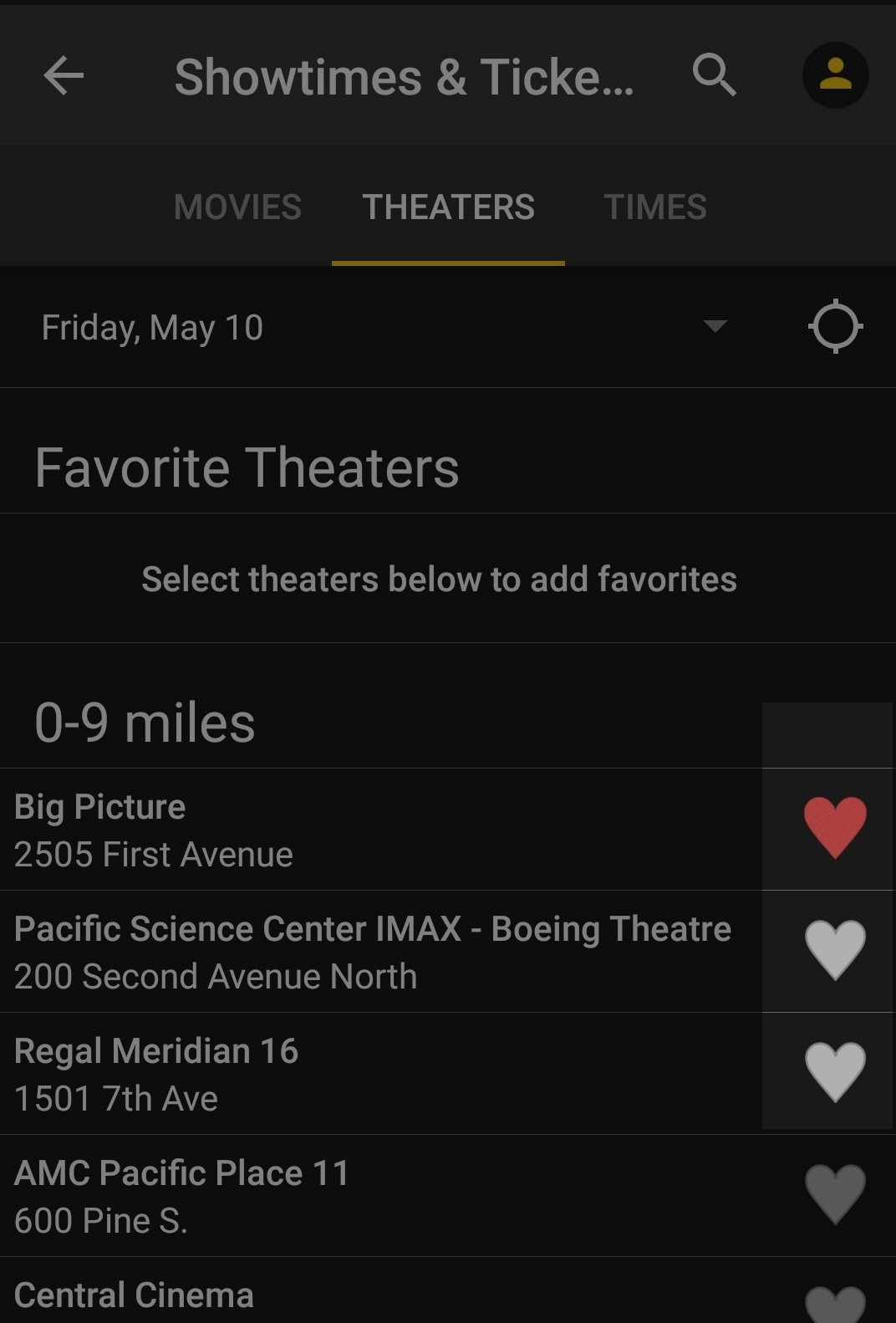 Example of Showtimes