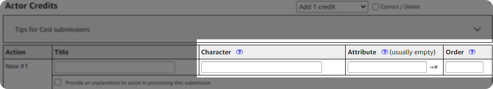 Cast credit addition example