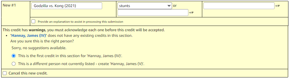 New credit for name