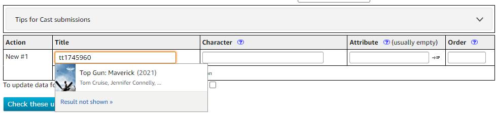 Using the tconst unique identifier