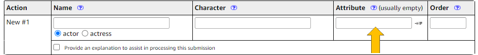 Example of attributes field