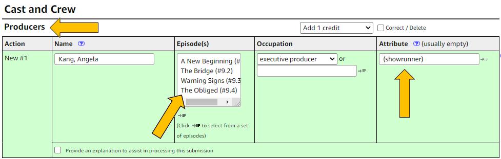 Image of adding new showrunner credits