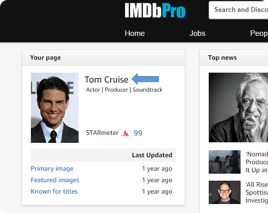 Find profile page example