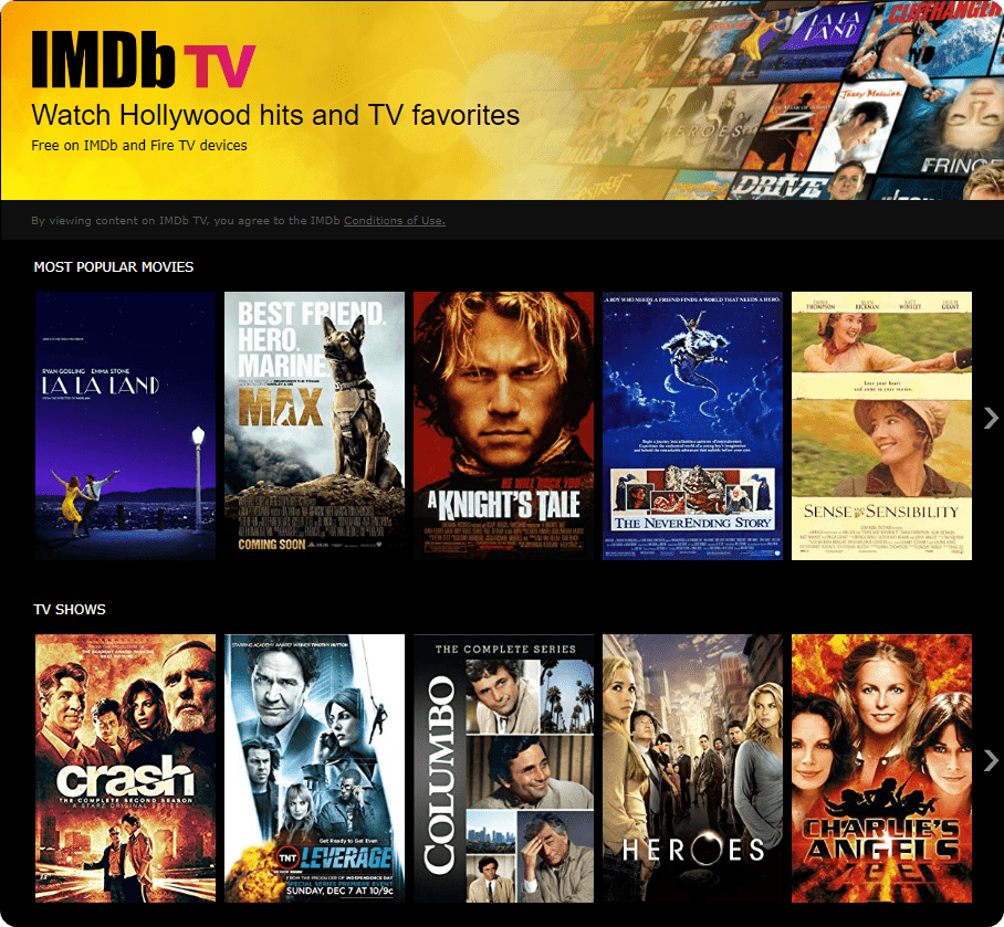 IMDb TV on desktop