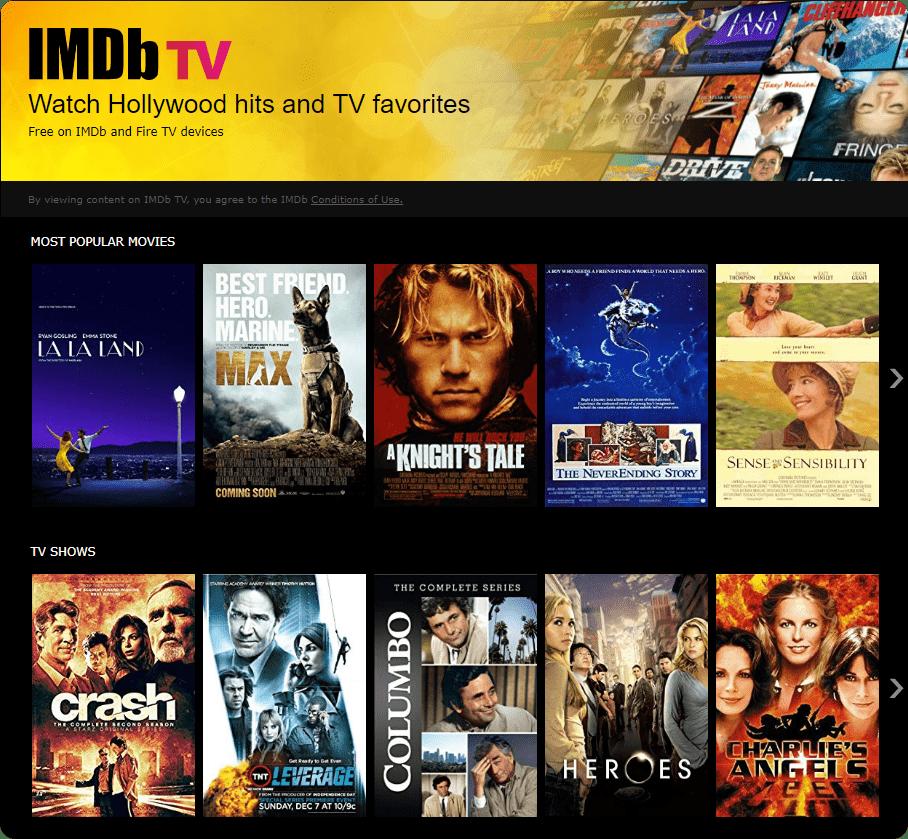IMDb TV on desktop