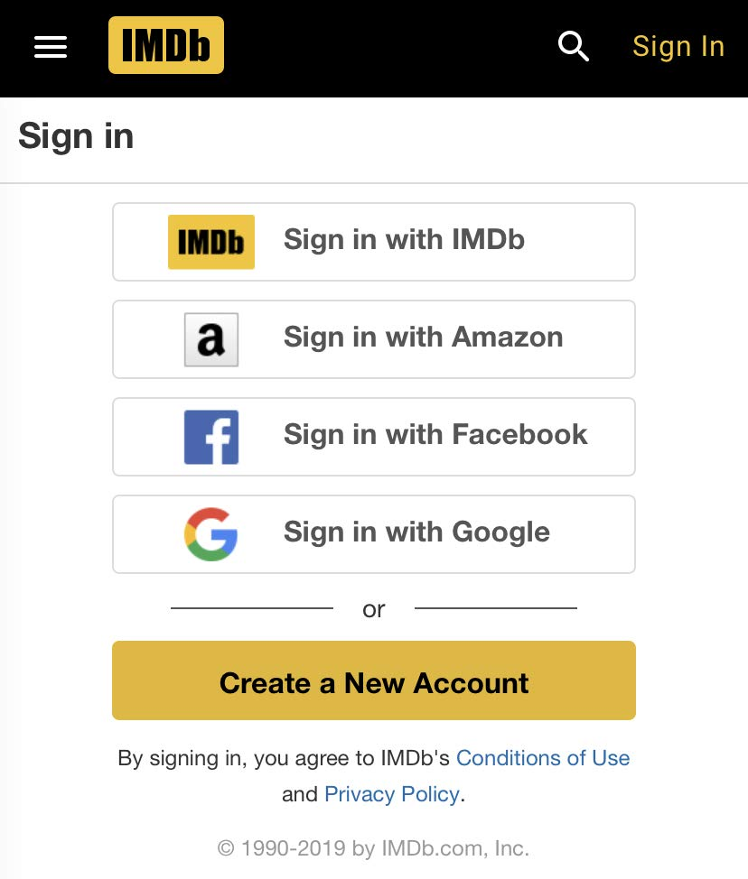 IMDb login screen