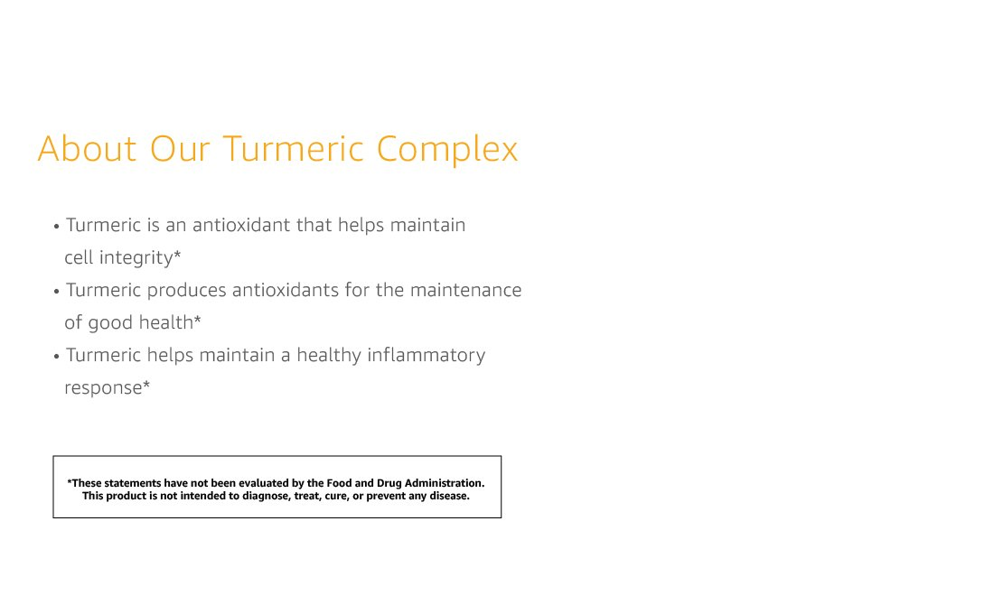Claims DPV1 TurmericComplexV3. CB1511910236  - Amazon Elements Turmeric Complex with Black Pepper and Ginger, Curcumin Supplement, 65 Capsules