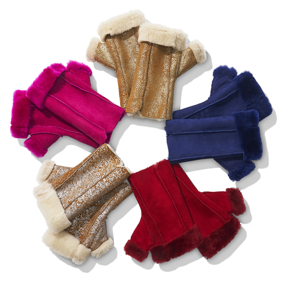 Shearling Fingerless Gloves by Justin Gregory