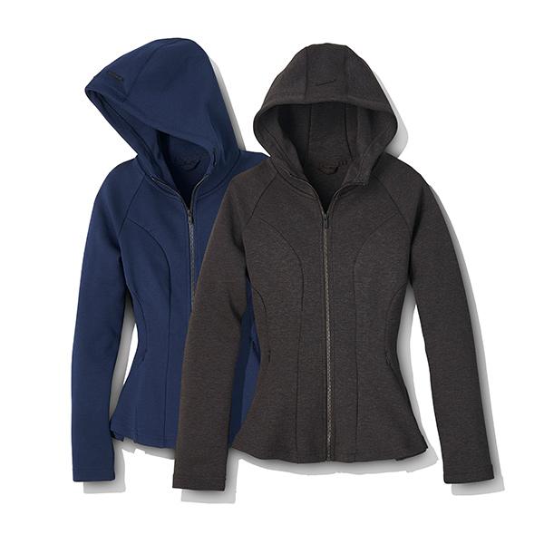 Motion Tech Fleece Peplum Full Zip Hoodie Jacket by Core 10