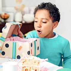 A child opening a birthday present