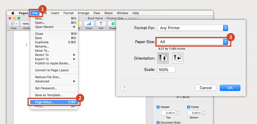 Go to File, click Page Setup, and click Paper Size