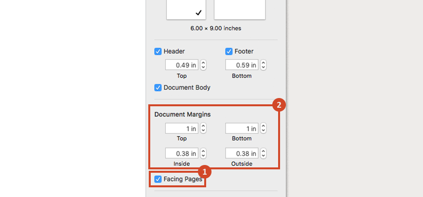 Choose the Facing Pages option and enter the document margins