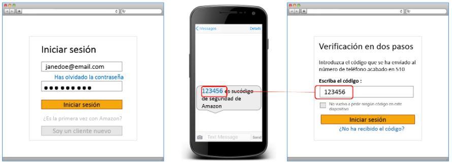Captura de pantalla que indica cómo completar la verificación en dos pasos