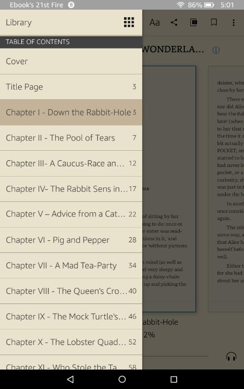Índice interactivo de Kindle