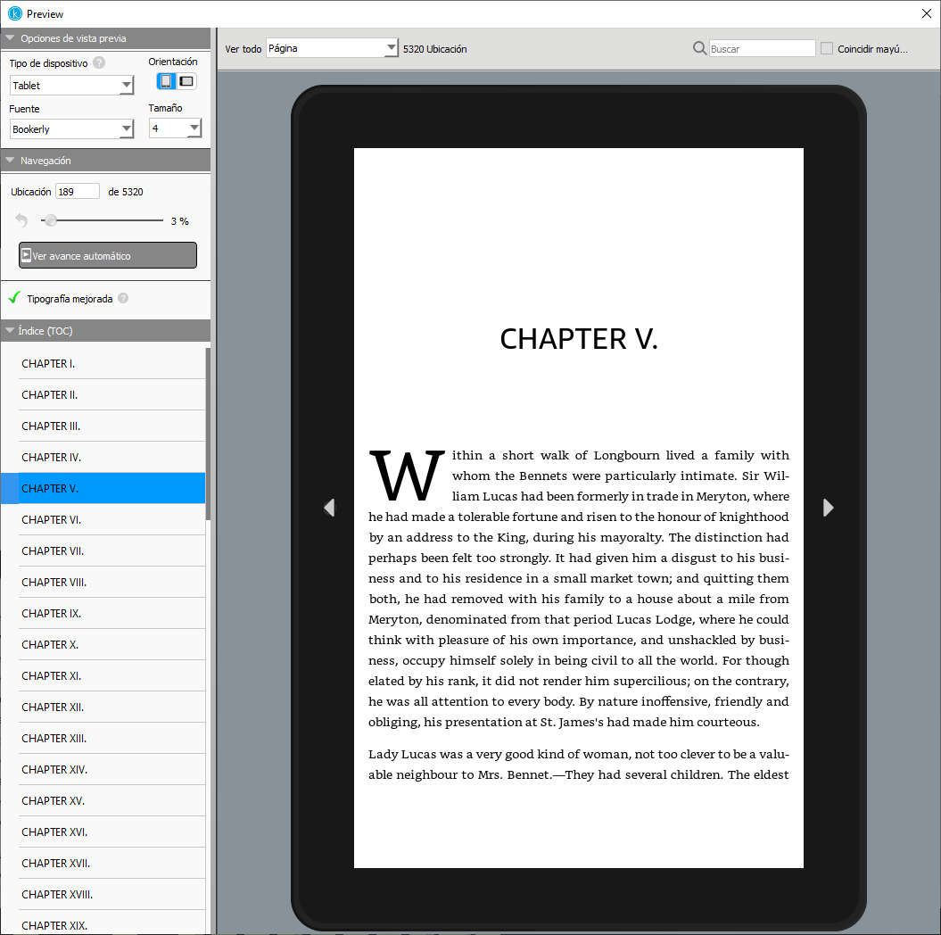Vista previa del libro en Kindle Create