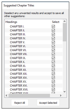 list of detected chapter titles in Kindle Create