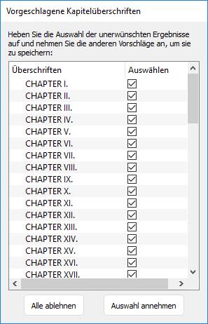 Liste der erkannten Kapitelüberschriften in Kindle Create