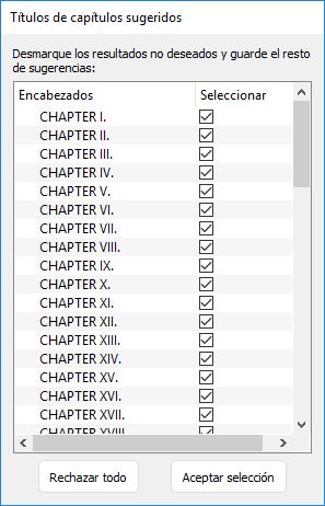 lista de los títulos de los capítulos detectados en Kindle Create