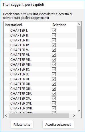 Elenco dei titoli dei capitoli trovati in Kindle Create