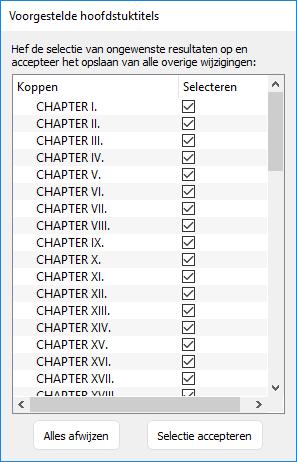 lijst met gevonden hoofdstuktitels in Kindle Create