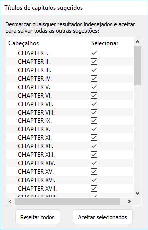 lista de títulos de capítulo detectados no Kindle Create