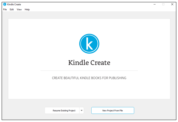 New project screen in Kindle Create