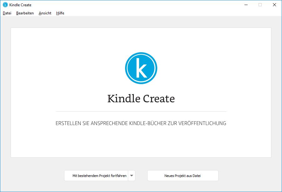 Bildschirm für ein neues Projekt in Kindle Create