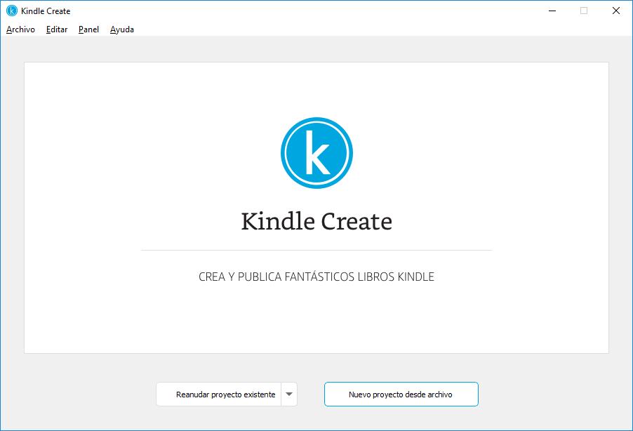 Pantalla de nuevo proyecto en Kindle Create