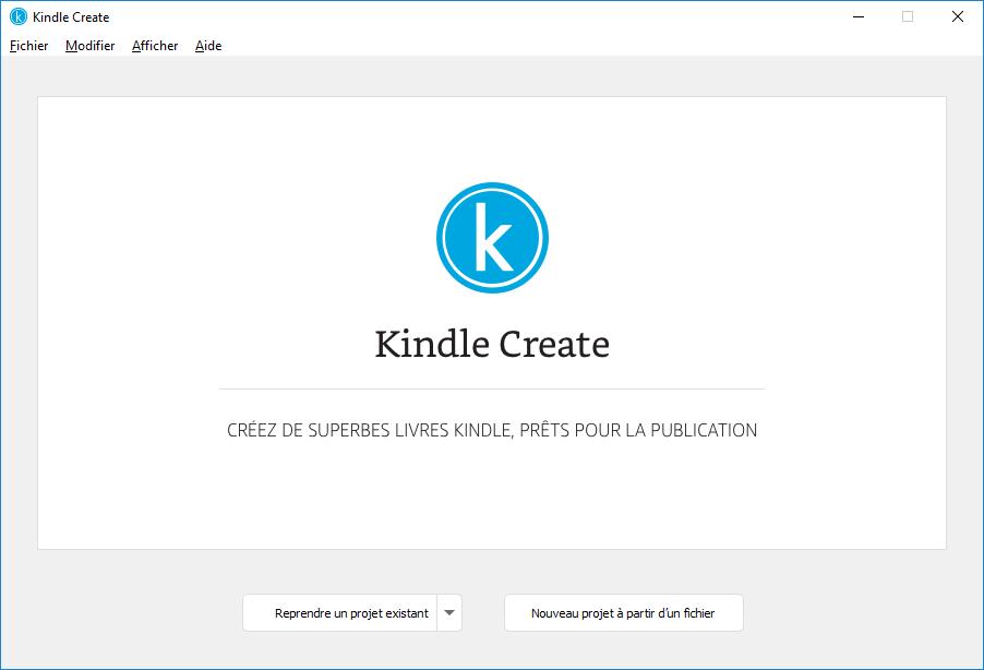 Nouvel écran Projet dans Kindle Create