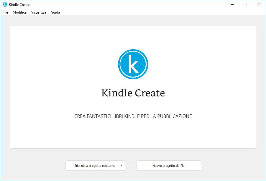 Schermata Nuovo progetto in Kindle Create