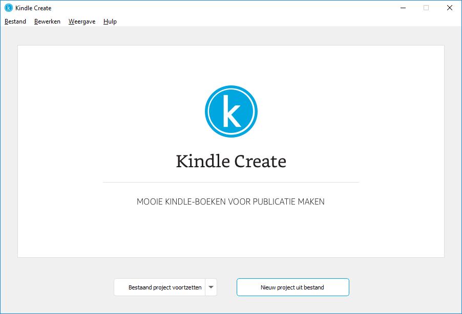 Nieuw project in Kindle Create