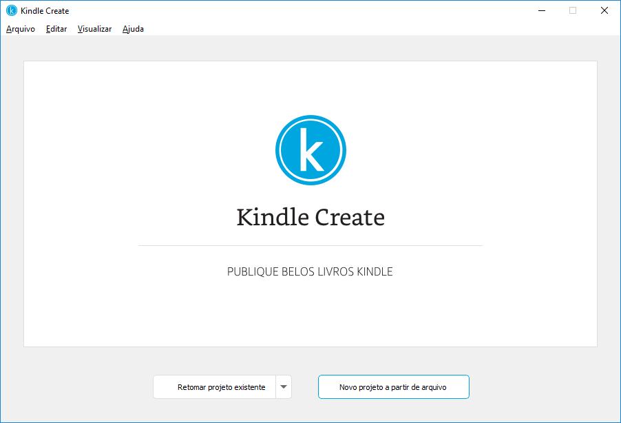 Tela Novo projeto no Kindle Create