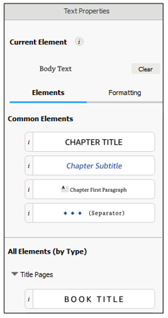 book title button in text properties pane