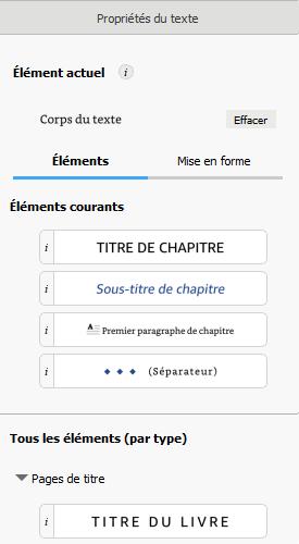 Bouton Titre du livre situé dans le volet Propriétés du texte