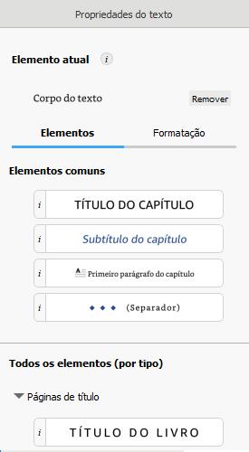 botão de título do livro na painel de propriedades do texto