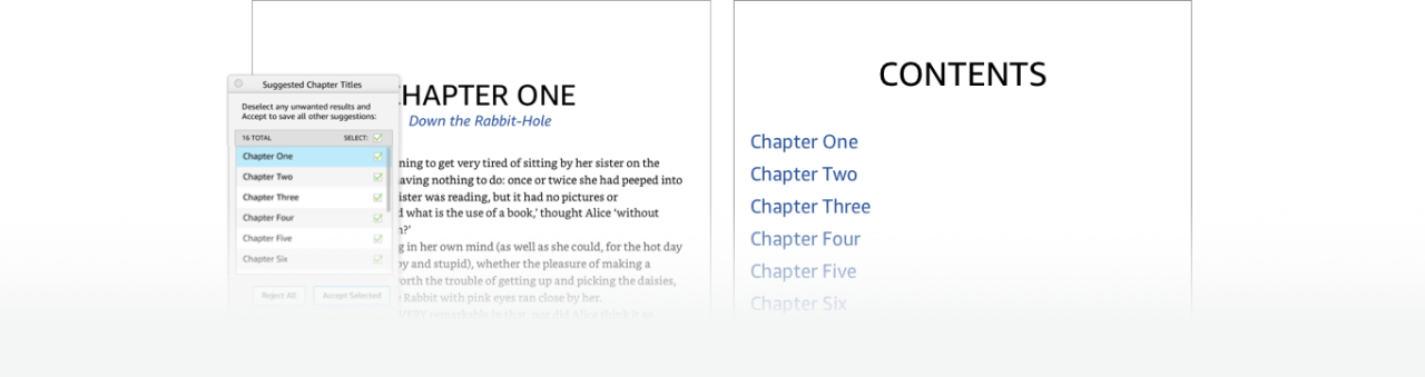 Kindle Create automatic chapter title detection and Table of Contents