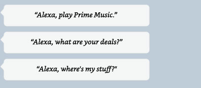 Alexa, play Prime music | Alexa, what are your deals? | Alexa, reorder coffee