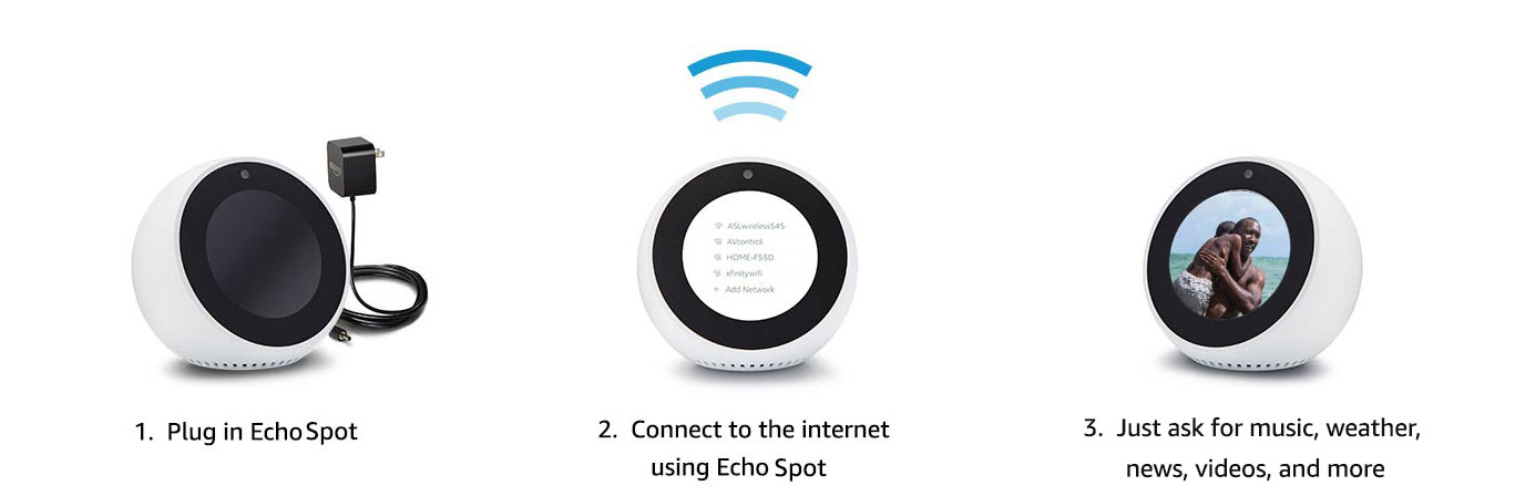 1. Plug in Echo Spot | 2. Connect to the internet with Echo Spot | 3. Just ask for music, weather, news, videos, and more