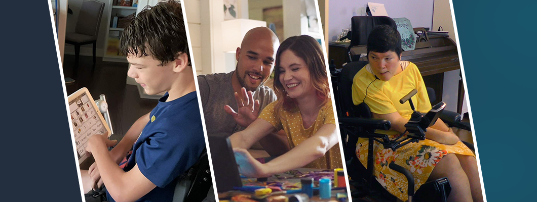 A collage of pictures: a boy with an adaptive tablet; a couple smiling at an Echo Show; a woman in a power chair.