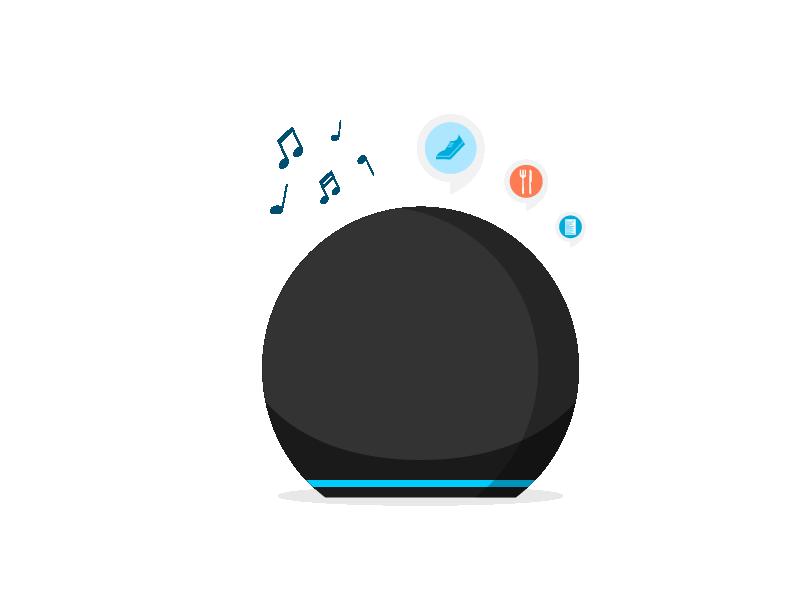 Solicítale a Alexa música, información sobre el clima, noticias y más.